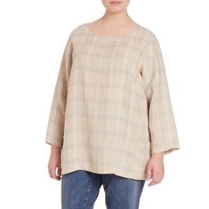Eileen Fisher Catalan linen plaid tunic blouse 🎀